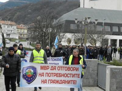 Протестът на полицаите в Гоце Делчев