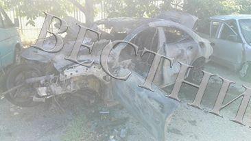 Скъп мерцедес изгоря при катастрофа на пътя между селата Господинци и Баничан, край Гоце Делчев