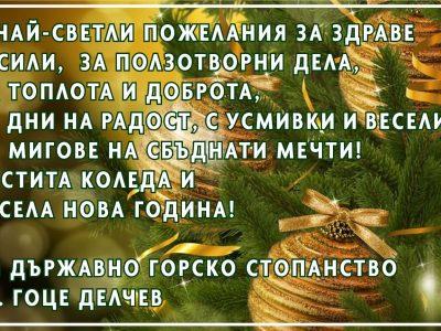 Коледни и новогодишни поздрави от Горско стопанство – гр. Гоце Делчев