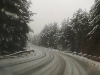 Сняг вали на прохода Попови ливади, пътят се почиства