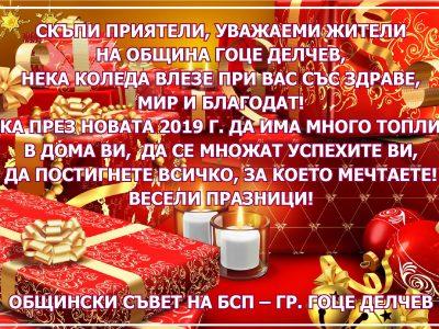 Общински съвет на БСП – гр. Гоце Делчев: Нека през Новата 2019 г. да има много топлина в дома ви и да се множат успехите ви!