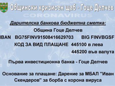 """Само за ден по банковата сметка в подкрепа на МБАЛ """"Иван Скендеров"""" гр. Гоце Делчев за борба с корона вируса са постъпили 6000 лева"""