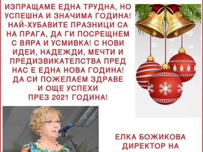 """Директорът на ПМГ """"Яне Сандански"""" Елка Божикова: Да си пожелаем здраве и още успехи през 2021 година!"""